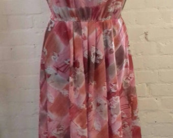 Floral pink/peach dress with imperfections - medium