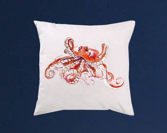 Octopus pillow cover - Art throw pillow - Watercolor painting - Special art design - Gift idea