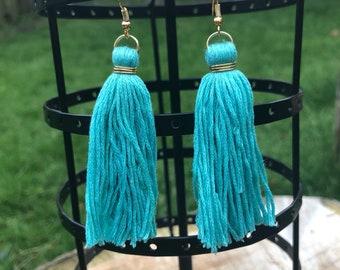 Aquamarine and Gold Tassel Earrings