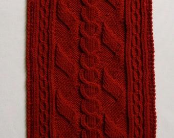 Knit Scarf Pattern:  Alpine Cabled Turtleneck Scarf