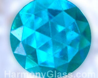 Set of 6 Round Faceted Stained Glass Jewels, Aqua 15mm