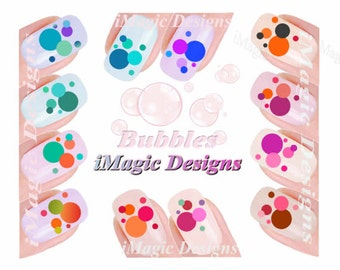 Nail Decals Stickers, Water Slide Nail Tattoo, Bubbles
