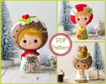 Christmas Sweets dolls: Pudding, Candy and Gingerbread (PDF Pattern)