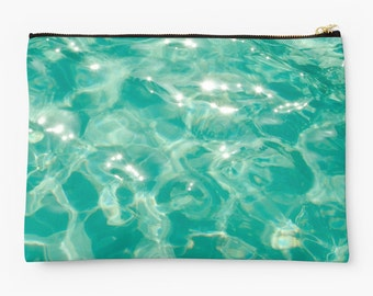 Ocean studio pouch with sparkly water, Personalized Gift, Art Supply Pouch Zipper Pouch Pencil Case, cosmetic bag pencil bag jewelry bag