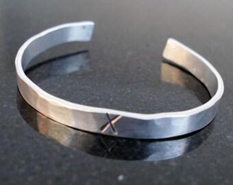 Men's Bracelet, Roman Numeral Cuff, X Bracelet, 10th Anniversary