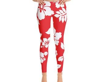 Red White Floral Leggings For Women Yoga Pants Yoga Leggings Workout Leggings Pattern Leggings Printed Leggings Fashion Leggings Tights
