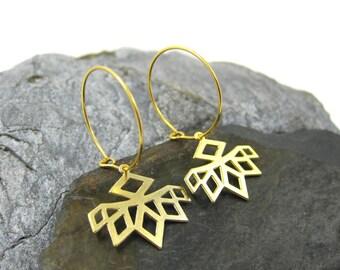 Long Drop Earrings, Diamond Shaped, Woman's Dangle Earrings, Geometric Earrings, Wedding Day Earrings, Unique Earrings, Boho Hoop Earrings