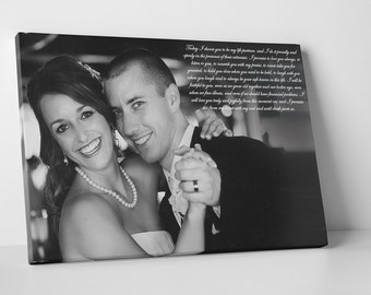 christmas gifts for wife, wedding vows canvas, christmas presents for her, for girlfriend, wedding vows examples, Chapel Hill NC Wedding
