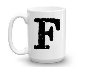 Initial Mug - Letter F - 15oz Ceramic Cup - Cousin Gift Mug - Right-Handed or Left-Handed Mug