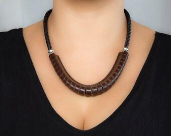 Dark Brown Leather Necklace, Handmade Statement Necklace - the Sierra