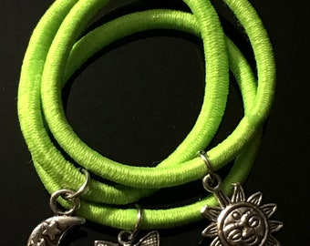 Green Hair Tie Bracelet Ring Charms Accessories Elastic Bands