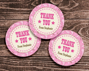 Personalized Cowgirl Party Favor Tags or Stickers – 2, 2.5 or 3 Inch Circle – DIY Printable (Digital File)