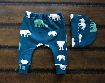 Organic baby clothes / winter baby clothes  / baby boy leggings / elephant baby clothes/ Jersey knit baby clothes / Hipster baby clothes