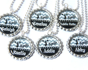 chevron cheerleading necklace, cheerleading gift, cheerleader jewelry, personalized necklace,  bottle cap necklace Custom Name Color