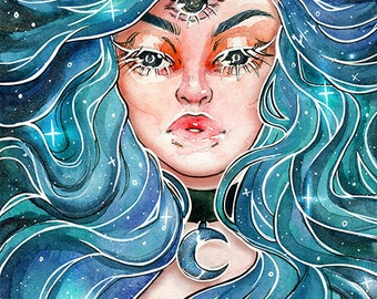 3 Eyed Spirit Galaxy Girl - 5x7'in / 13x18cm Print