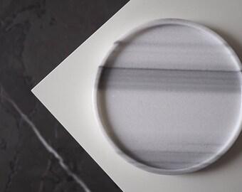 """Round marble tray 21cm(8,3"""") of Turkish Striato Olimpico, antic finish, white marble tray, grey marble tray, decor marble tray, white tray"""