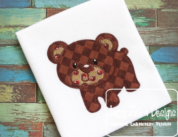Bear 15 Appliqué embroidery design with Square Diagonal Stitching - bear appliqué design - baby appliqué design - mascot appliqué design
