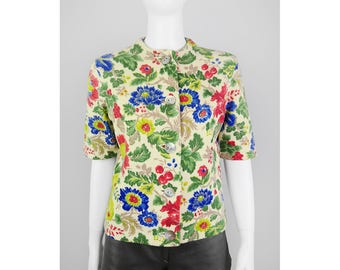 Vintage short sleeve cardigan with floral print