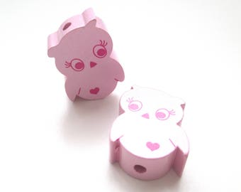Wooden small OWL bead - pink