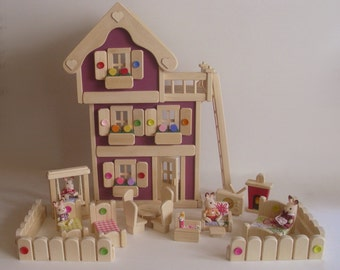 Wooden Doll House, Peg Dollhouse Furniture, Natural Wood Gender Neutral Waldorf toy, Kids Birthday gift, Jacobs Wooden Toys 'AUTUMN PLUM'