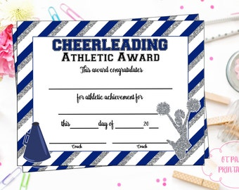 Editable cheerleader certificate instant download instant download cheerleading certificate cheerleading award cheerleading printable cheerleading achievement end yadclub Image collections