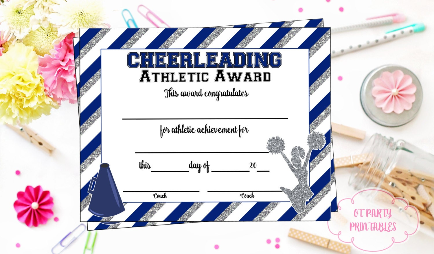 Instant download cheerleading certificate cheerleading zoom yadclub Images