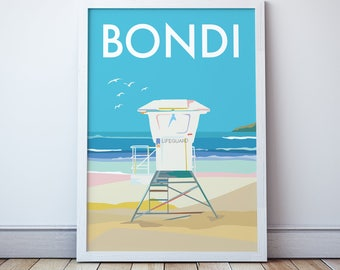 Bondi Beach Surf Lifesaving Tower Print