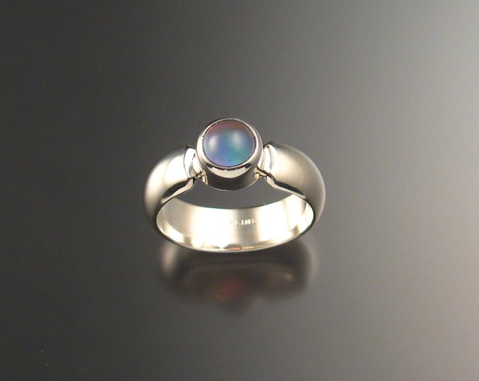 Lavender Chalcedony and lab Opal Doublet ring Sterling Silver made to order in your size