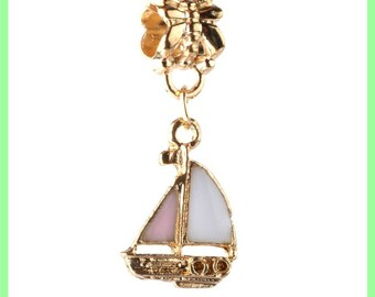 Pearl European bail N115 sailboat for bracelet charms