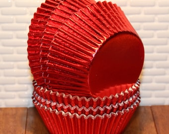 Elegant Red Foil Cupcake Liners (Qty 50) Red Foil Cupcake Liners, Red Foil Baking Cups, Red Foil Muffin Cups, Red Cupcake Liners, Baking Cup