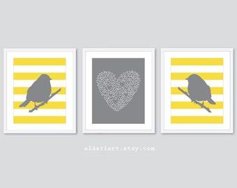 Modern Perched Birds and Love Nursery Art Prints - Set of 3 Prints - Birds Art - Love Art Print - Baby Girl Nursery Decor - Yellow and Grey