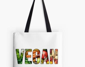 VEGAN Vegetable Print Tote Bag