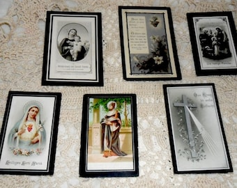 6 Antique German Funeral Cards~German Death Cards~Prayers Cards~Victorian Funeral Art~