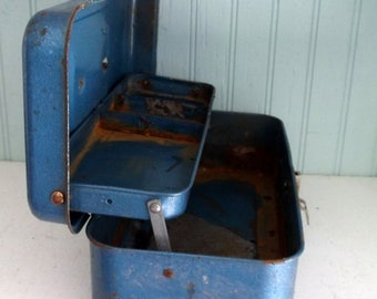 Vintage Small Blue Metal Tool Box or Tackle Box Just enough Rust Planter Child's Toolbox Crafting organizer