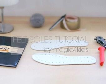 FELT SOLES TUTORIAL- felt soles for crochet slippers, any size, tutorial for making felt soles for crochet slippers