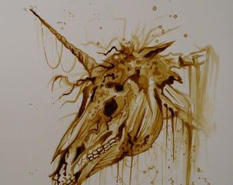 Zombie Unicorn coffee painting