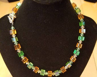 Tan and Green crystal squaredel necklace