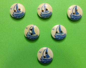 SET of 6 wood buttons: theme Starfish motif sailboat (04) 15mm round