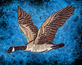 Flying Canada Goose Canadian Bird Iron on Patch