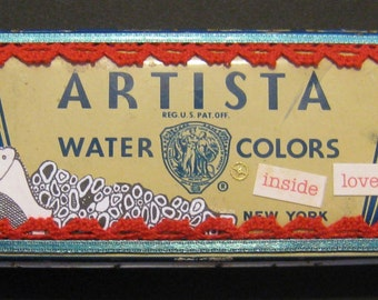 Altered Collage Watercolor Box: Inside Love