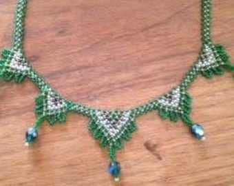 Deco Green Micro Bead and Crystal Woven Bib Necklace