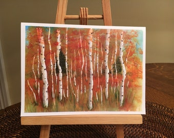 Aspen Forest autumn Fall  leaves watercolor print card