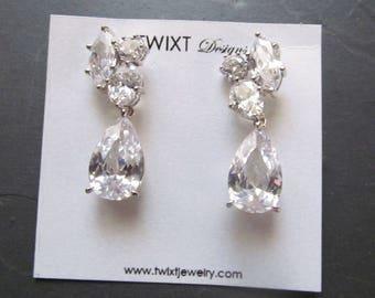 crystal bridal earrings silver, crystal cluster earrings, crystal earrings wedding, crystal wedding earrings, dangle crystal jewelry