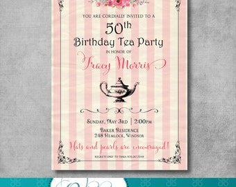 Adult Birthday Tea Party Invitation - Vintage - Shabby Chic - 30th - 40th - 50th - 60th - Birthday Party - Customizable - Printable - DIY
