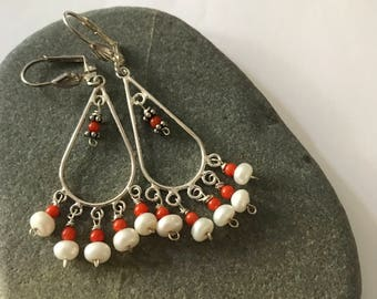 Coral and pearl chandelier earrings