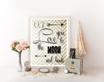 We Love You to the Moon and Back Nursery Printable, We Love You to the Moon and Back, Nursery Decor, Digital Download, Nursery Print, 0223