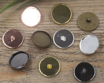 50 Brass Round Bezel W/ Ring Button 12mm/ 14mm/ 16mm/ 18mm/ 20mm Brass Antique Bronze/ Silver/ Gold/ Rose Gold/ White Gold/ Gun-Metal