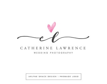Premade Logo - Logo Design - Business Logo - Photography Logo - Watercolor Logo - Heart Logo - Handwritten Logo - Branding Kit