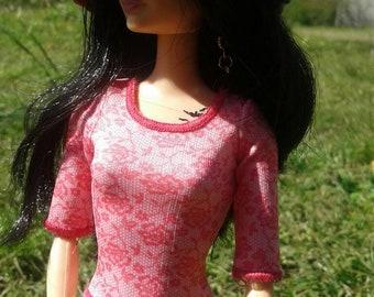 Handmade Barbie Floppy Hat/ Pink, White and Grey