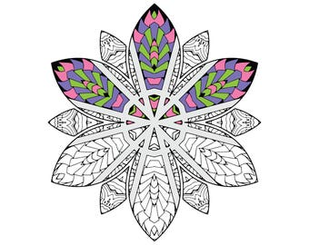 Flower Power Coloring Page - Instant Digital Download